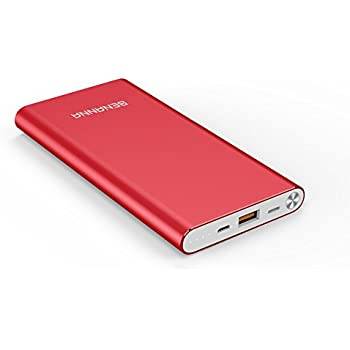 BENANNA Portable Charger 10000mAh Lightning & Micro-USB Input Power Bank External Battery Pack S1 for iPhone X 8 7 6 5 Plus iPad Android Cell Phone Samsung Galaxy Note LG Gopro And More - Red