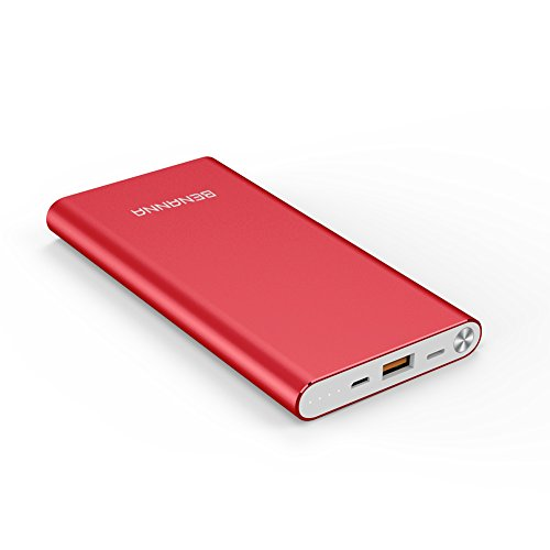 Portable Charger 10000mAh Lightning & Micro-USB Input Power Bank External Battery Pack BENANNA for iPhone X 8 7 6 5 Plus Se iPad Android Cell Phone Samsung Galaxy Note LG Gopro and More - Red by BENANNA