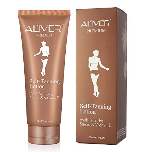 ALIVER Body Lotion for Self Tanner, Natural Ingredients and Nourishing Formula Sunless Tanning Lotion, Dark Gradual Tan, Flawless Darker Bronzer Skin for Body (Best Gradual Tanning Lotion For Pale Skin)