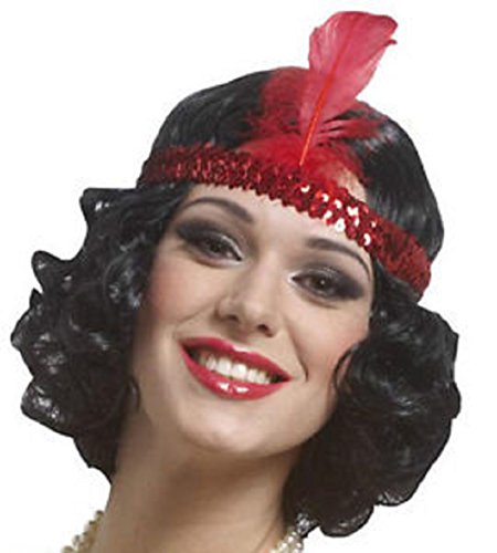 Curly Black Flapper Wig with Red (Curly Flapper Black Wig)