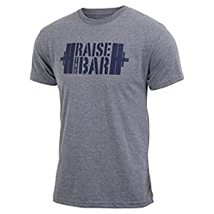 Jumpbox Fitness Raise the Bar - Gray - Men's Barbell Weightlifting Triblend Workout T-shirt
