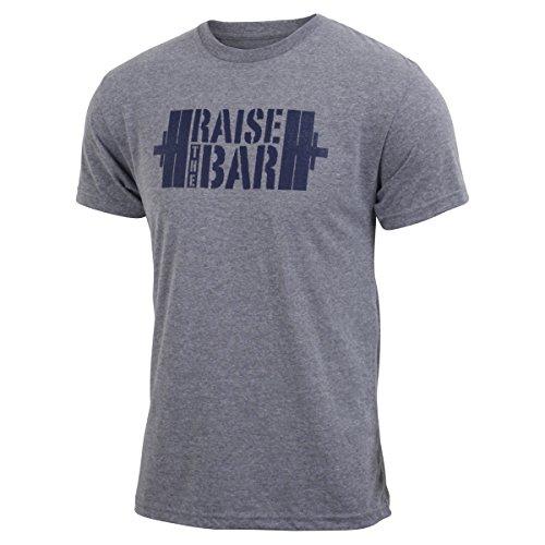 Jumpbox Fitness Raise the Bar - Gray - Men's Barbell Weightlifting Triblend Workout T-shirt