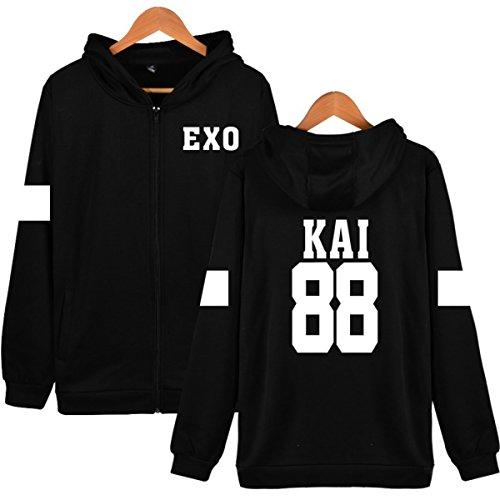 EXO Sweat Kpop Sehun Zipper Chanyeol Manteau Hoodies Coton à Streetwear  Capuche Drôle Hoodies en 2 ... ec33e4e8a1c7