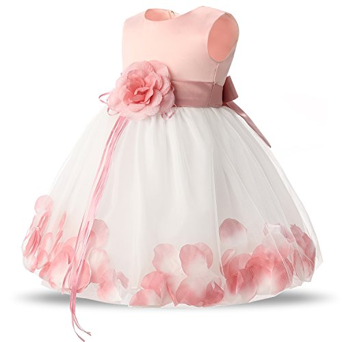 7592840b361 NNJXD Girl Tutu Flower Petals Bow Bridal Dress for Toddler Girl Size ...