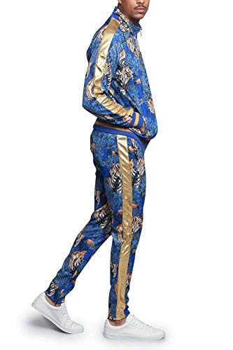 G-Style USA Royal Floral Tiger Track Suit ST559 - Royal Blue - X-Large - E4F