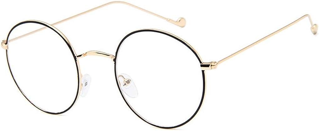 Schwarz Silbern Farbe Brillen Ohne Sehst/ärke NAVARCH Brillenfassung Vintage Unisex Metall Frame Runde Brille Retro Metall Klare Linse Brille Golden