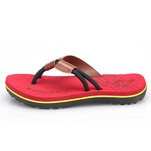 CIOR Mens Handmade Fashion Beach Slipper Indoor and Outdoor Classical Flip-Flop Thong Sandals 02 Red rhYS7s