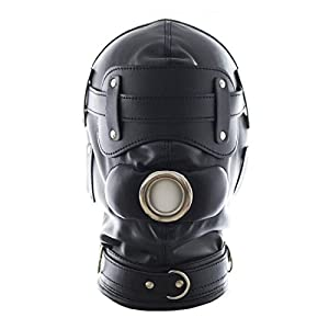 FeiGu Black Leather Bondage Gimp Mask Head Hood T6