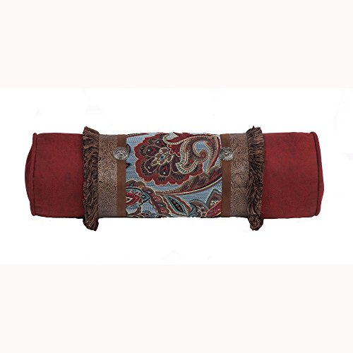 Saverio Abilene Red Leather Bolster With Western Flower Tapstry - Multicolor 30X8