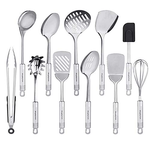 Utensil Stainless Steel (Stainless Steel Utensils, 11 Pieces Kitchen Utensil Set for Cooking with Spatula)