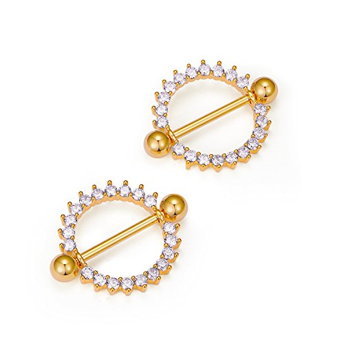 Pair Nipple Rings Shields - vcmart Pair of Nipple Rings Circle of Life Nipplerings White Gems Shields Body Piercing Jewelry 15G Gold