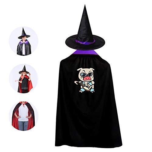 69PF-1 Halloween Cape Matching Witch Hat Music Pig Wizard Cloak Masquerade Cosplay Custume Robe Kids/Boy/Girl Gift Purple]()