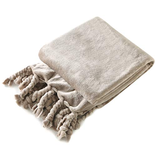 Homiest Luxury Flannel Fleece Throw Blanket for Couch Sofa Lightweight Soft & Cozy Velvet Throw Blanket with Fringe (50 x 60,Taupe)