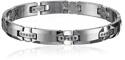 Men's Tungsten-Stainless Steel 1/2 cttw Black Diamond Bracelet by Amazon Collection