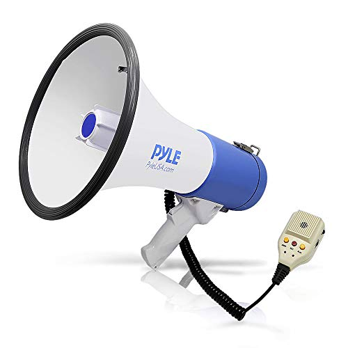 - Pyle Megaphone PA Bullhorn Speaker - Built-in Siren 50 Watts Rechargeable Battery- 10 Sec Record Function for Football Baseball Basketball Cheerleading Fans Coaches or for Safety Drills - (PMP59IR)