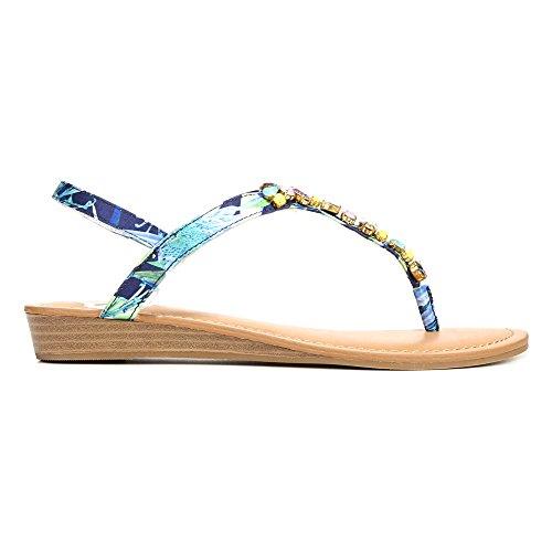 Fergalicious Vrouwen Tasso Open Teen Casual T-strap Sandalen Blauw Bloemen