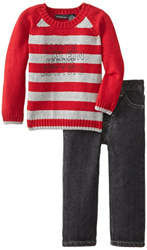 Calvin Klein Baby Boys' Red Stripes Sweater and Pants, Red, 18 Months by Calvin Klein