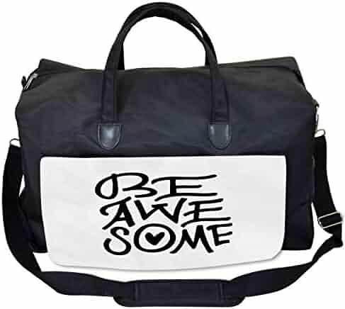 Ambesonne White Gym Bag Large Weekender Carry-on Grunge Alien Heads Art