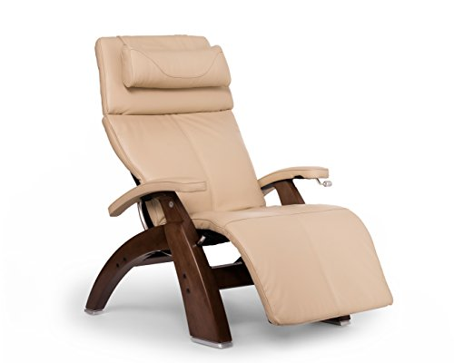 Perfect Chair Human Touch PC-420 Classic Manual PLUS Series 2 Walnut Wood Base Zero-Gravity Recliner - Ivory Premium Leather - In-Home White Glove Delivery