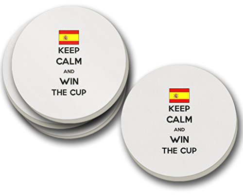 Spain Keep Calm Win The Cup Soccer Sandstone Coasters Round Set of 4 Coasters Only by Style in Print