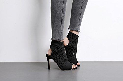 botas moda black wild nuevo Shoes y alto con calcetines bien solo vacíe ZHZNVX zapatos tejer sandalias El tejer Heel gXwqxz1