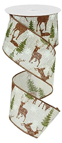 (Deer with Trees Burlap Wired Ribbon (Ivory, Brown, Green) 2.5