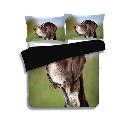 Black Duvet Cover Set Full Size,Hunting Decor,German Short Haired Pointer in Wilderness Portrait Photo Kurzhaar Pet Dog,Multicolor,Decorative 3 Pcs Bedding Set by 2 Pillow Shams