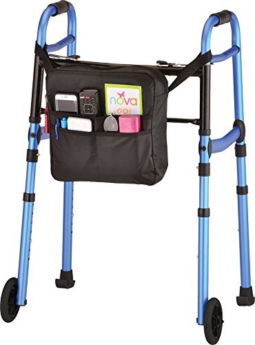 NOVA Medical Products Travel Folding Walker with Wheels, Gli