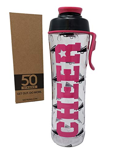 50 Strong BPA Free Reusable Cheer Dance Ballet Gymnast Water Bottle for Girls - 24 30 oz. Clear with Cheerleading Dancer Gymnastics Print - Gift for Cheerleaders, Dancers & Gymnasts (Cheer, 24 oz.)]()