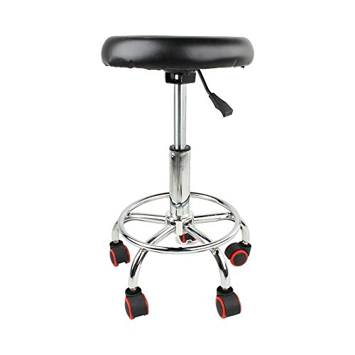 Salon Stool, 45-55cm Height Adjustable Salon Rolling Swivel Stool Tattoo Massage Spa Chair Black for Clinic Dentist Spa Massage Salons Studio