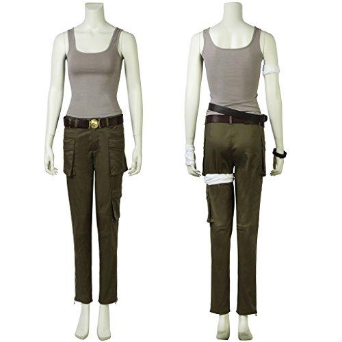 CosplayDiy Women's Suit for Tomb Raider Lara Croft Cosplay (XS, Green&Gray)