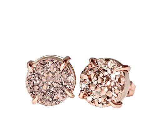 Rose Gold Rose Quartz Ring - Gold Druzy Gemstone Prong Stud Earring- Real Druzy-Rose gold- 10mm