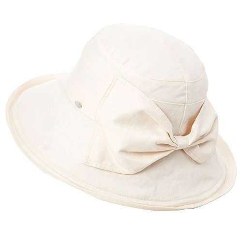 - SIGGI Womens UPF50+ Summer Sunhat 100% Linen Bucket Packable Crushable Foldable Wide Brim Hats w/Chin Cord Beige