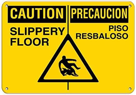 Sign Precaucion - Caution Precaucion Slippery Floor Piso Resbaloso Decorative Metal Sign for Road Tin Art Wall Decor Aluminum Sign