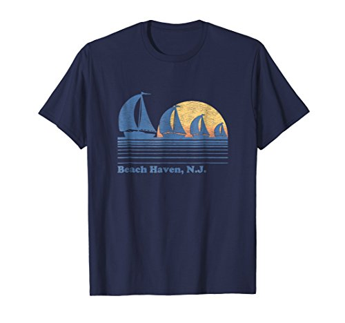 Beach Haven NJ Sailboat T-Shirt Vintage 80s Sunset Tee