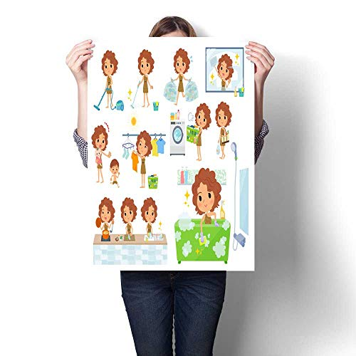 Smock Housekeeping (smllmoonDecor Home Decor Primitive Women_Housekeeping Decorative Fine Art Canvas Print Poster K 20