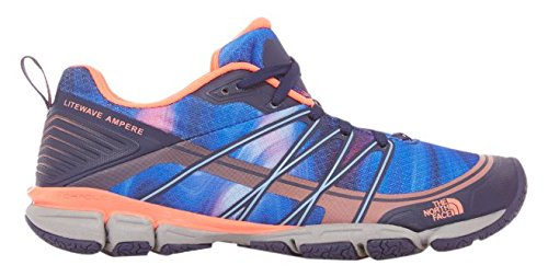 De North Face Dames Litewave Ampere Patriot Blue Print / Tropical Coral