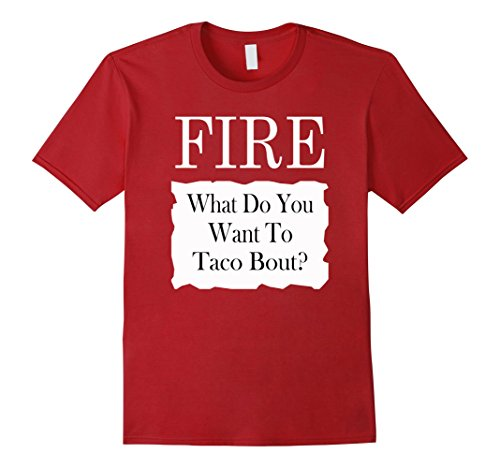 Fire Hot Sauce Costume (Mens Fire Taco Hot Sauce Packet Halloween Costume Group T-shirt XL Cranberry)