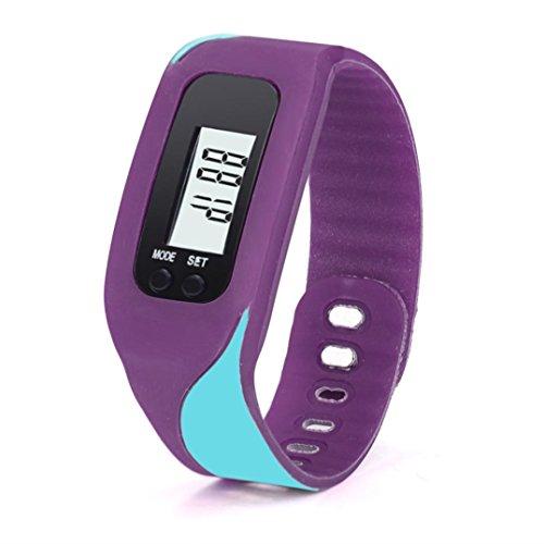 Iuhan® Fashion Digital LCD Pedometer Run Step Walking Distance Calorie Counter Watch Bracelet (Purple)
