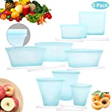 Yawenner Reusable Silicone Food Storage Bag, 8 Pack Bags With Slider, Zip Lock Top Leakproof Containers Stand Up Stay Open Zip Shut Portable Snack Fruit Dish Liquid Bag Cup - Complete Set Blue