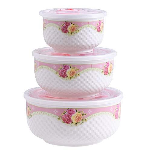 Dishwasher & Microwave Safe Ceramic Bowls Set of 3, Large Bone Porcelain Stackable Sealed Crisper Bowls for Ramen Noodle Salad Soup Fruit Snack (Pink Rose)