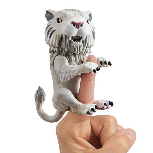 Tiger Dire - WowWee Untamed Sabre Tooth Tiger by Fingerlings - Silvertooth (Silver) - Interactive Collectible Toy