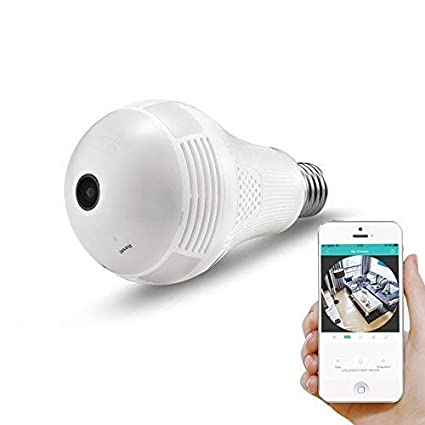 360° Panoramic View WiFi IP Bulb Camera with FishEye Lens 360 Degree 3D VR Panoramic View Home Security CCTV Camera Wirelss Security Camera (1080P)