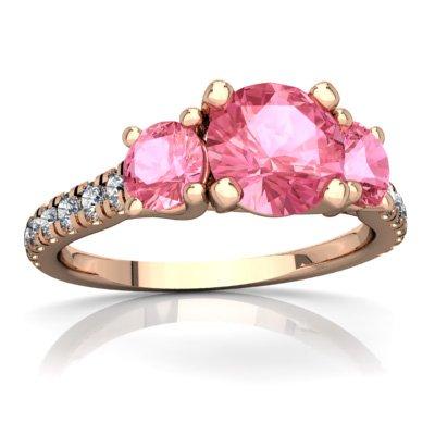 (14K Rose Gold Lab Pink Sapphire and Diamond Round Pavé Trellis Ring - Size 4)