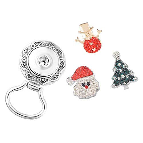 (MJartoria Christmas Interchangeable Snap Buttons Centerpiece Rhinestone Eye Glass Holding Magnetic Brooch (Christmas 7))