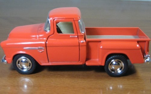 1/32 Scale 1955 Chevy Stepside Pick-up Truck Metal Diecast Model Collection Pull Back Action Kinsmart Orange