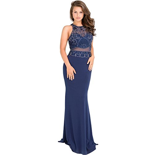 JVN by Jovani Womens Plus Rhinestone Beaded Formal Dress Navy 18 by JVN by Jovani