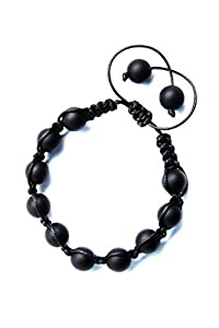 Shamballa Black Onyx Bracelet - Handmade Stone Bead Jewelry - Adjustable - For Men and Women