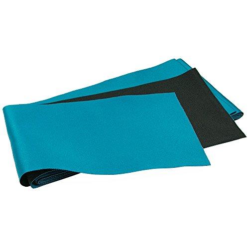KYOETSU Women's Long Obi Belt for Yukata Kimono Plain Reversible (Turquoise/Black) (Reversible Obi)