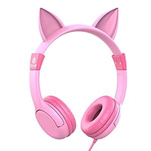 iClever Kids Headphones Girls – Cat-Inspired Wired On-Ear Headphones for Kids, 85dB Volume Limiting, Food Grade Silicone, Lightweight, 3.5mm Jack – Comfortable Children Headphones for Kids, Pink